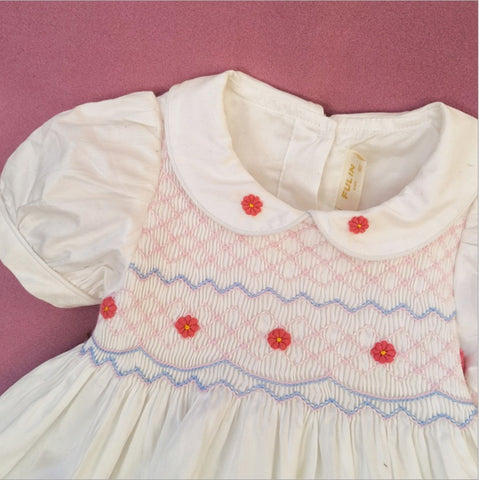 Gorgeous White Hand Smocked Dress, 2T to 7T.