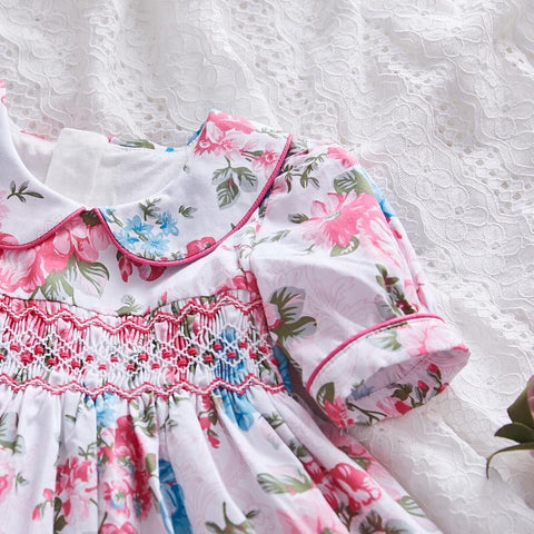 Gorgeous Floral Print Hand Smocked Dress,12M to 6T.