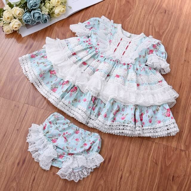 Spanish Lace Dress With Shorts, 2T to 6T.