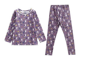Cute Bunny Printed PJs,Purple/Peach,3T to 9T.