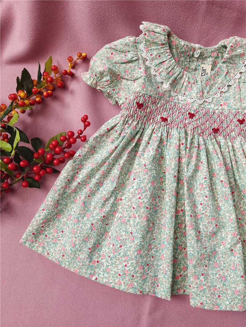 Floral Hand Smocked Dress With Cute Embroidery,3T-7T.