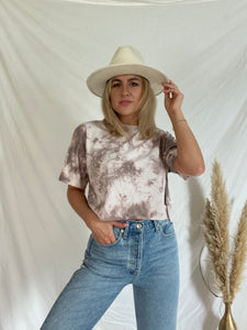 Short Sleeve Cropped Brown Tie Dye T-shirt