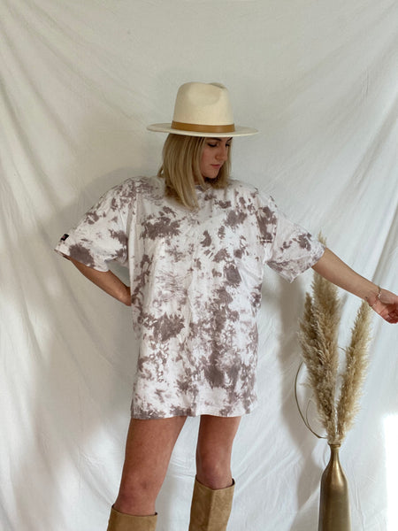 Oversized Short Sleeve Brown Tie Dye T-shirt Dress