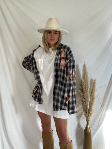 Oversized Black and White Plaid Bleach Tie Dye Button Down