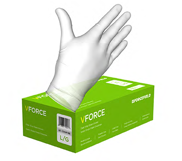 Forcefield VForce  Clear Vinyl Smooth Finish Medical Grade Exam Gloves (Box 100)