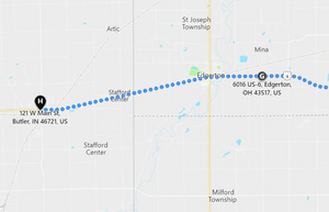 Stage 112: Edgerton to Butler (IN), Sep 25, 10:35 AM - 8.6 miles