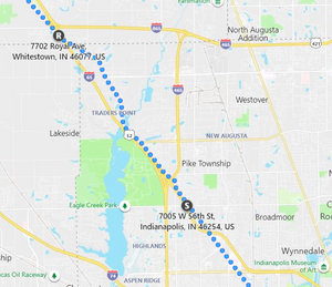 Stage 151: Zionsville to Indianapolis, Sep 28, 06:50 PM - 6.8 miles