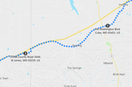 Stage 185: Cuba to Rosati, Oct 02, 06:00 AM - 9 miles