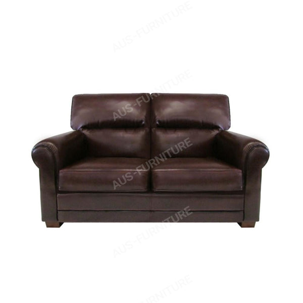 a brown leather couch sitting next to a brown chair