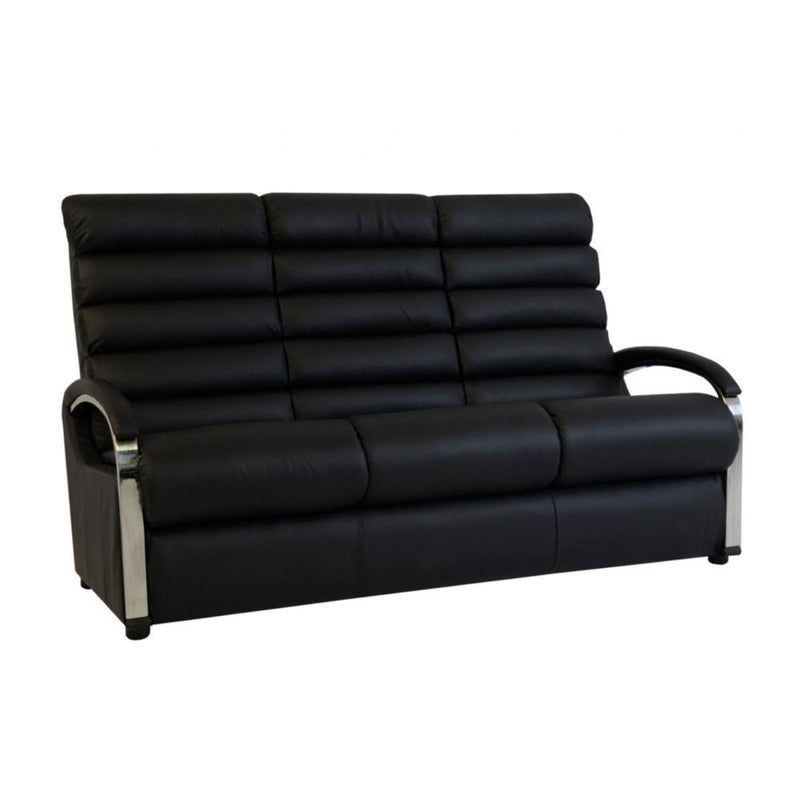 a black leather couch sitting on a white background