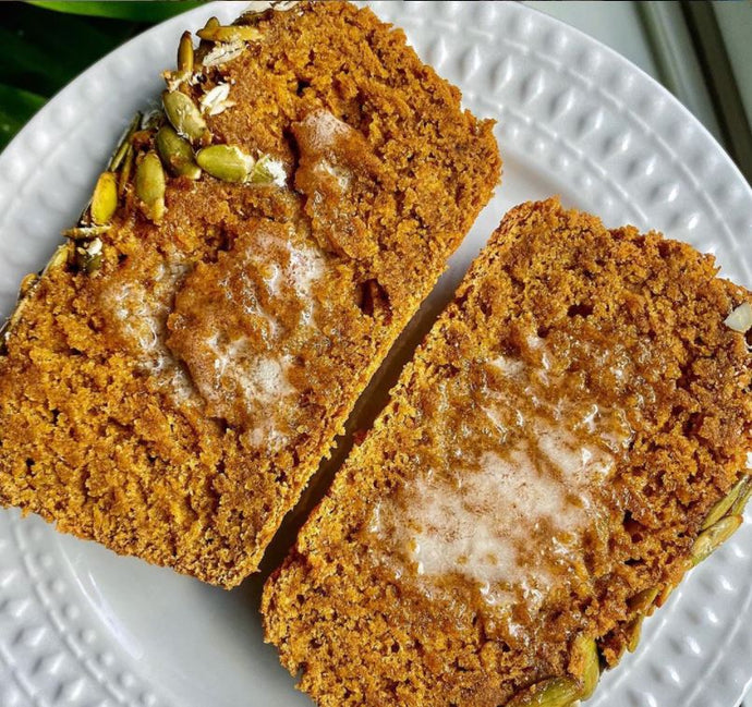 PURECANE™ VEGAN SOURDOUGH PUMPKIN BREAD WITH MAPLE GLAZED PEPITAS