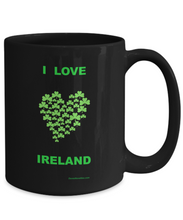 Load image into Gallery viewer, I Love Ireland black mug with letters, 11oz or 15oz, gift for irishman or Irishwoman.