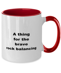 Rock balancing funny two-tone coffee mug four colors 11oz women men