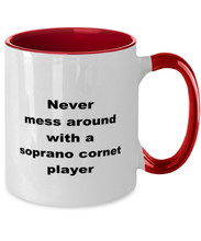 Load image into Gallery viewer, Soprano cornet player funny two-tone coffee mug 11oz women men