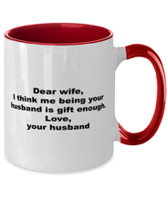 Load image into Gallery viewer, Wife to husband funny two-tone coffee mug four colors 11oz for women and men