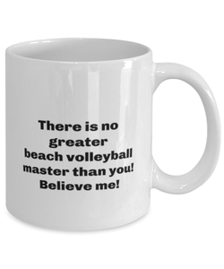 Greatest beach volleyball master coffee mug cup for women or men