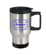 Load image into Gallery viewer, Happy Chanukah spill proof travel  mug cup for women or men 14 oz