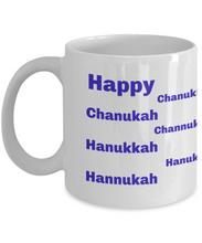 Load image into Gallery viewer, Happy Chanukah full wrap white coffee mug with different spellings