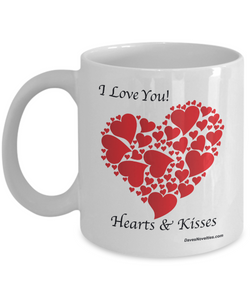 Hearts & Kisses white coffee mug with red hearts, ceramic, 11oz or 15oz, gift for an occasion.