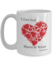Load image into Gallery viewer, Hearts & Kisses white coffee mug with red hearts, ceramic, 11oz or 15oz, gift for an occasion.