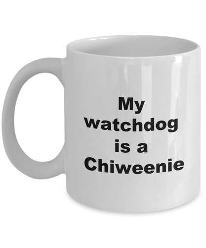 Funny Chiweenie coffee mug white ceramic printed both sides dog owner watchdog tea soup or hot chocolate 11oz or 15oz.