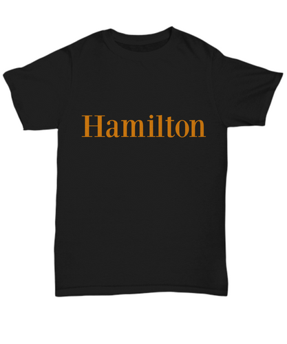 Hamilton play unisex T-shirt, Black, all sizes, limited edition.