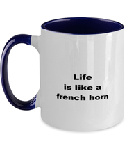Load image into Gallery viewer, French horn coffee funny two-tone mug four colors 11oz women men