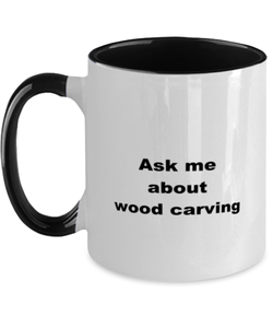 Wood carving coffee funny two-tone mug four colors 11oz women men
