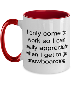 Snowboarding funny two-tone coffee mug four colors 11oz for women and men