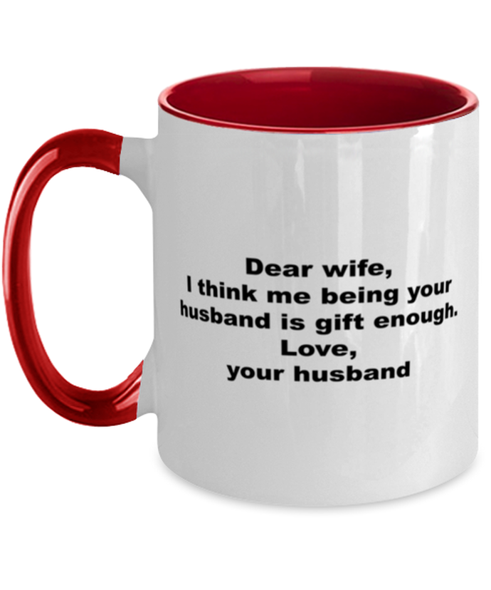 Wife to husband funny two-tone coffee mug four colors 11oz for women and men