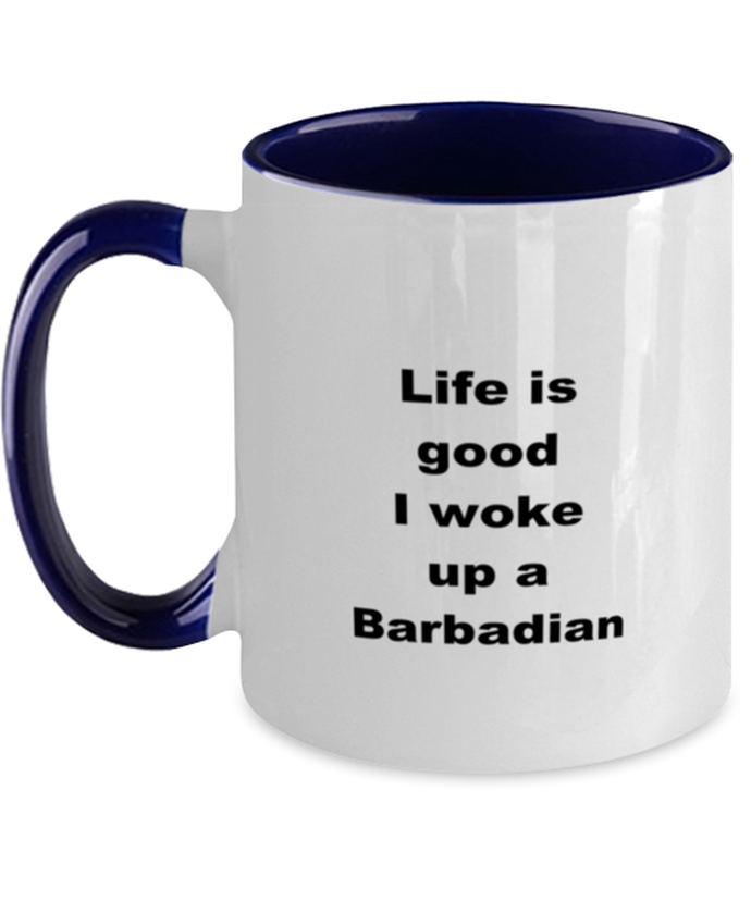 Barbadian two-tone coffee mug novelty cup for women and men