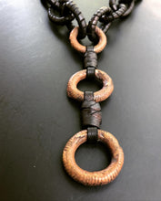 Load image into Gallery viewer, Leather Chain & Brass Ring Necklace