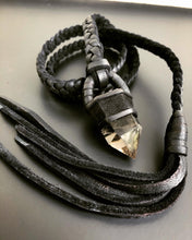 Load image into Gallery viewer, Black Leather Lariat w/Smokey Quartz (SALE)