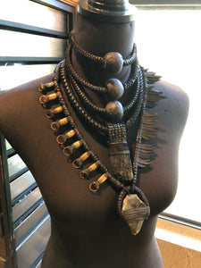 Black Leather Tiered Choker w/ Beads (SALE)
