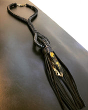 Load image into Gallery viewer, Leather Fringe & Smelted Quartz Necklace