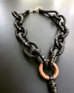 Leather Chain & Brass Ring Necklace