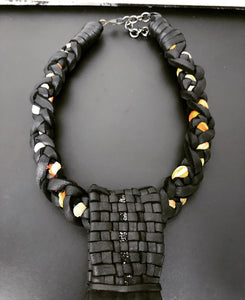 Black Leather & Vintage Silk Necklace w/ Quartz