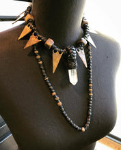 Load image into Gallery viewer, Crystal Choker Necklace w/ Brass Arrowheads