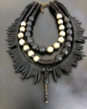 Load image into Gallery viewer, Leather Fringe & Bead Necklace w/ Aegirine