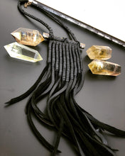 Load image into Gallery viewer, Black Leather Coil & Fringe Necklace
