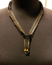 Load image into Gallery viewer, Brass Chain & Smokey Citrine Necklace w/ Leather