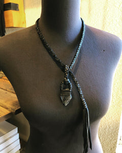 Black Leather & Labradorite Lariat