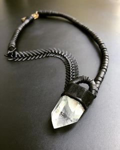 Quartz & Leather Necklace w/ Black Chain