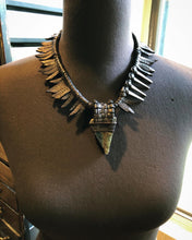 Load image into Gallery viewer, Leather Fringe & Labradorite Necklace w/ Spikes (SALE)