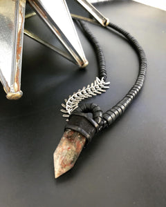 Black Leather & Garden Quartz Necklace w/ Spine Chain