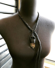 Load image into Gallery viewer, Black Leather & Citrine Lariat