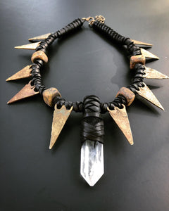 Crystal Choker Necklace w/ Brass Arrowheads