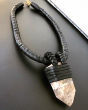 Load image into Gallery viewer, Leather & Dusty Pink Quartz Necklace