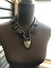 Load image into Gallery viewer, Black Leather Fringe & Labradorite Choker Necklace w/ Metal Spikes (SALE)