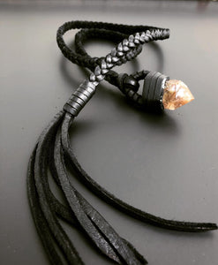 Leather & Crystal Lariat (SALE)